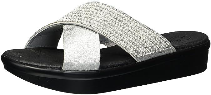 Skechers Bumblers-Summer Scorcher, Sandales Bout Ouvert Femme, Argent (Silver), 36 EU