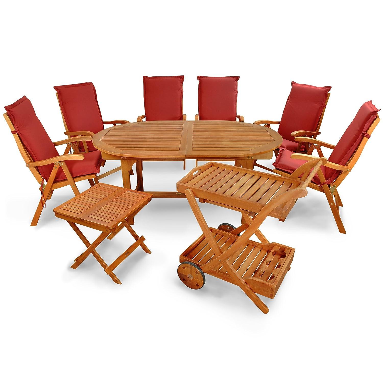indoba® IND-70066-SFSE9BTSW + IND-70432-AUHL - Serie Sun Flair - Gartenmöbel Set 15-teilig aus Holz FSC zertifiziert - 6 klappbare Gartenstühle + 1 ausziehbarer Gartentisch + 1 Beistelltisch + 1 Servierwagen + 6 Premium Sitzauflagen rot