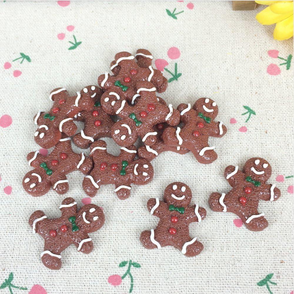 10pcs Gingerbread Christmas Fake Food Miniature Fake Food Dessert Flat Back Cabochons Decoden Flatback DP137