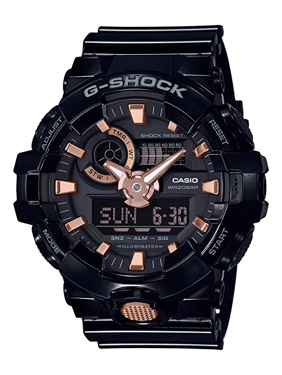 Casio Mens XL Series G-Shock Quartz 200M WR Shock Resistant Resin Color: Glossy Black and Rose Gold (Model GA-710GBX-1A4CR)