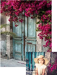 Kate 5x7ft Vintage Blue Wood Door Photography Backdrops Spring Scene Nature Red Flowers Backgrounds Baby Shower Newborn Children Portrait Photoshoot Background Props Soft Fabric Washable