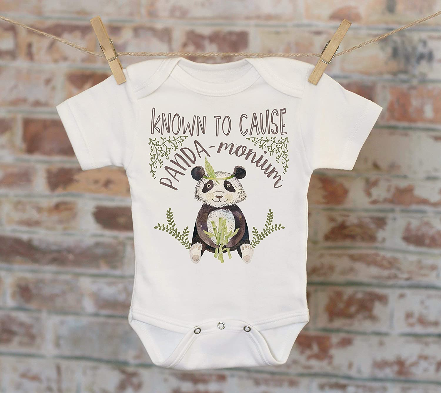 Known To Cause Panda-Monium Tribal Style Onesie®, Cute Onesie, Funny Onesie, Animal Onesie, Cute Baby Bodysuit, Boho Baby Onesie
