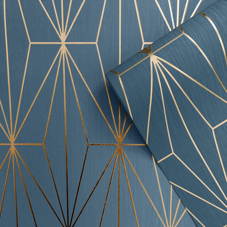 Muriva Kayla Papier Peint G/éom/étrique M/étallique Bleu//Bronze