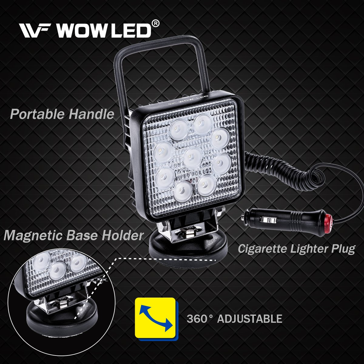 LED Work Light Magnet 27W Portable Spot Flood Beam Lamp for Truck Travel Engineering Vehicle Boat Off-Road Tractor Maintenance Car WOWLED LED Light Bar with Magnetic Base Camping Trailer