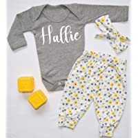 Personalised Name Baby Vest Pants and Headband Set Babygrow New Baby Gifts Newborn baby Gifts Personalised Babywear Hospital Outfit Newborn