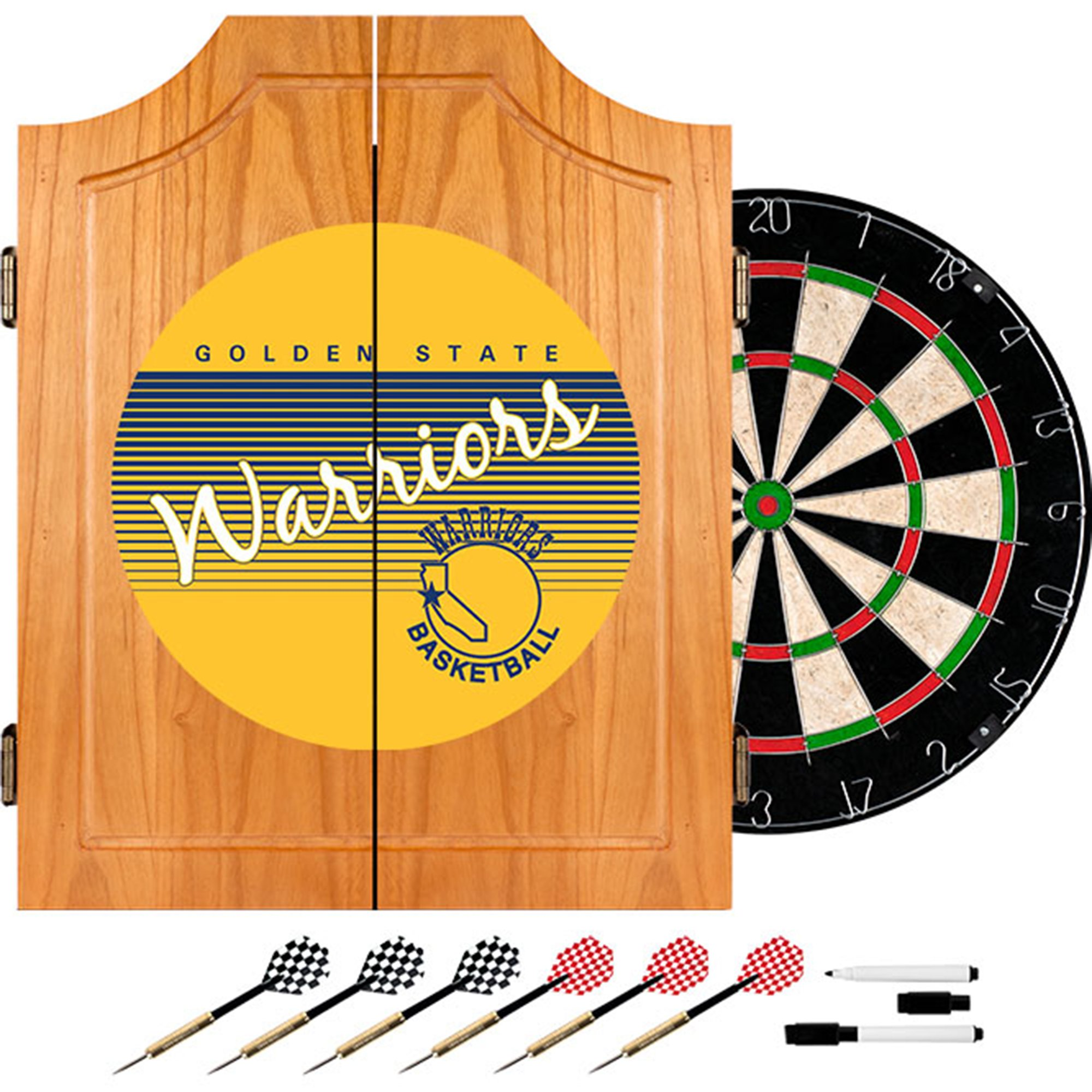 NBA Golden State Warriors Wood Dart Cabinet, One Size, Brown