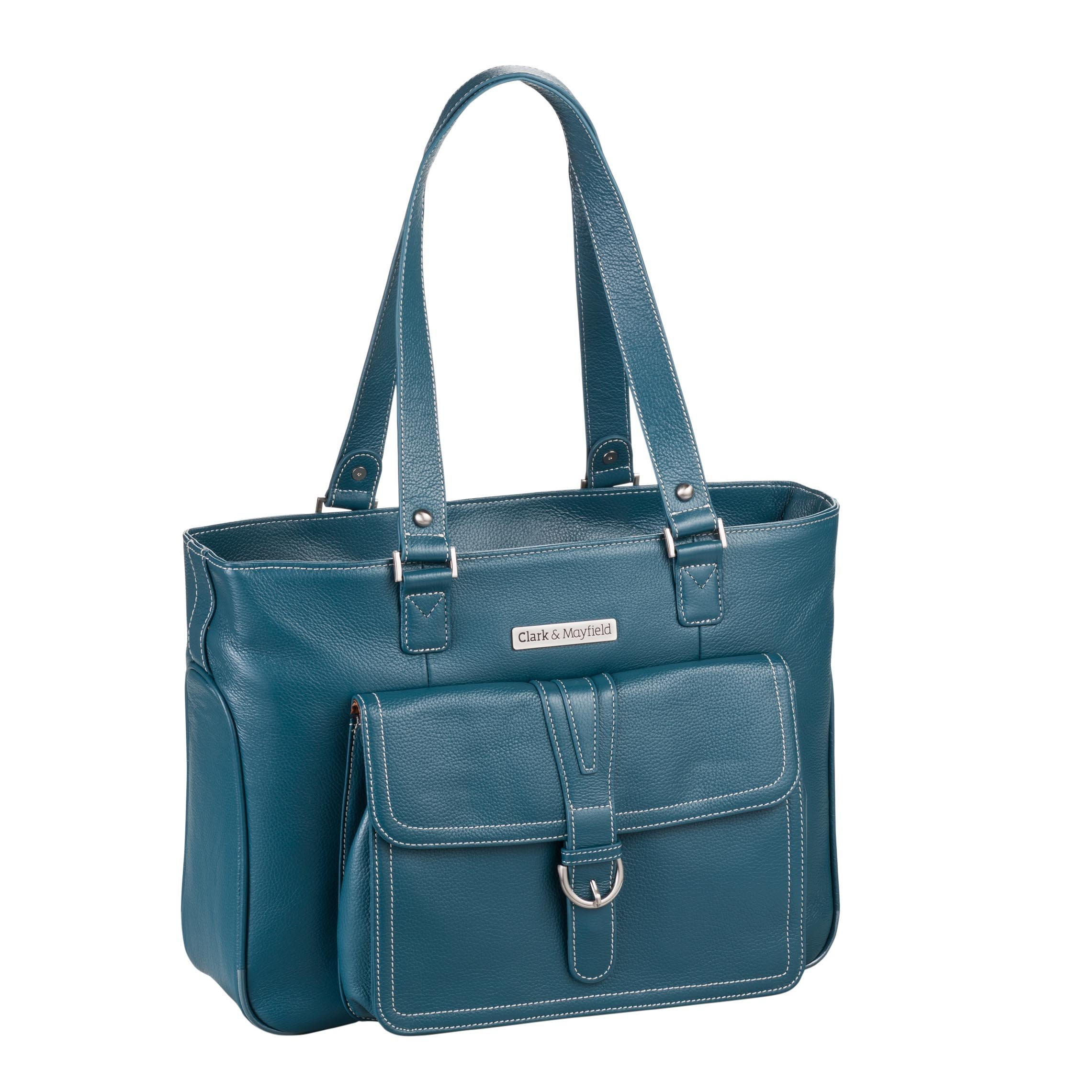 Clark & Mayfield Women's Stafford Pro Leather Laptop Tote (Fits laptops up to 15.6'', Deep Teal)
