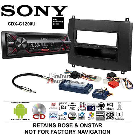 cadillac cts 2007 radio wiring harness amazon com volunteer audio sony cdx g1200u double din radio  volunteer audio sony cdx g1200u double
