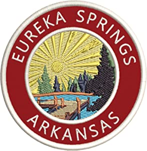 "Lake Dock - Eureka Springs - Arkansas 3.5"" Embroidery DIY Iron or Sew-on Decorative Patches Vacation Adventure Theme Novelty Applique"