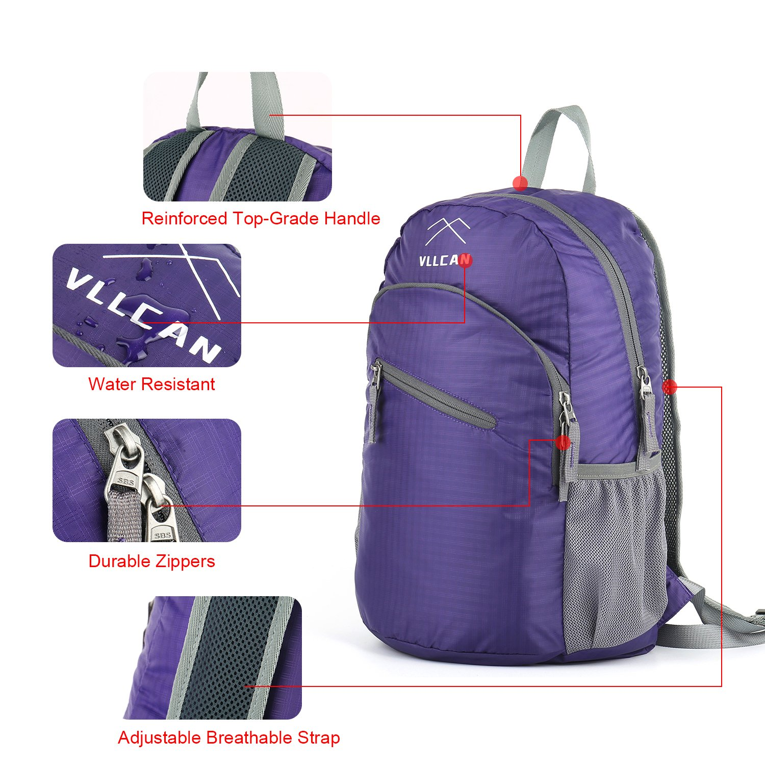 VLLCAN Lightweight Foldable Packable Backpack 20L//33L Handy Travel Daypack Water Resistant Hiking Backpack Camping Outdoor Travel