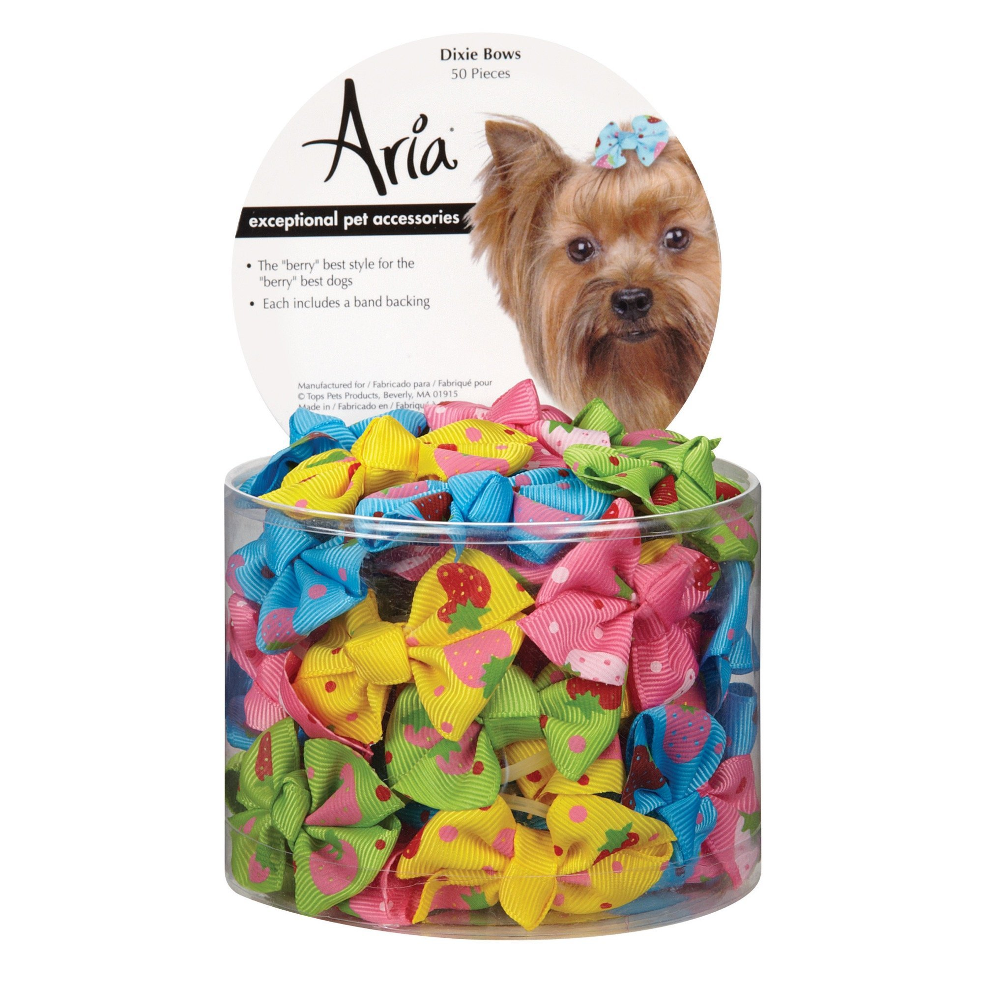 Aria Dixie Bows for Dogs, 50-Piece Canisters by Aria