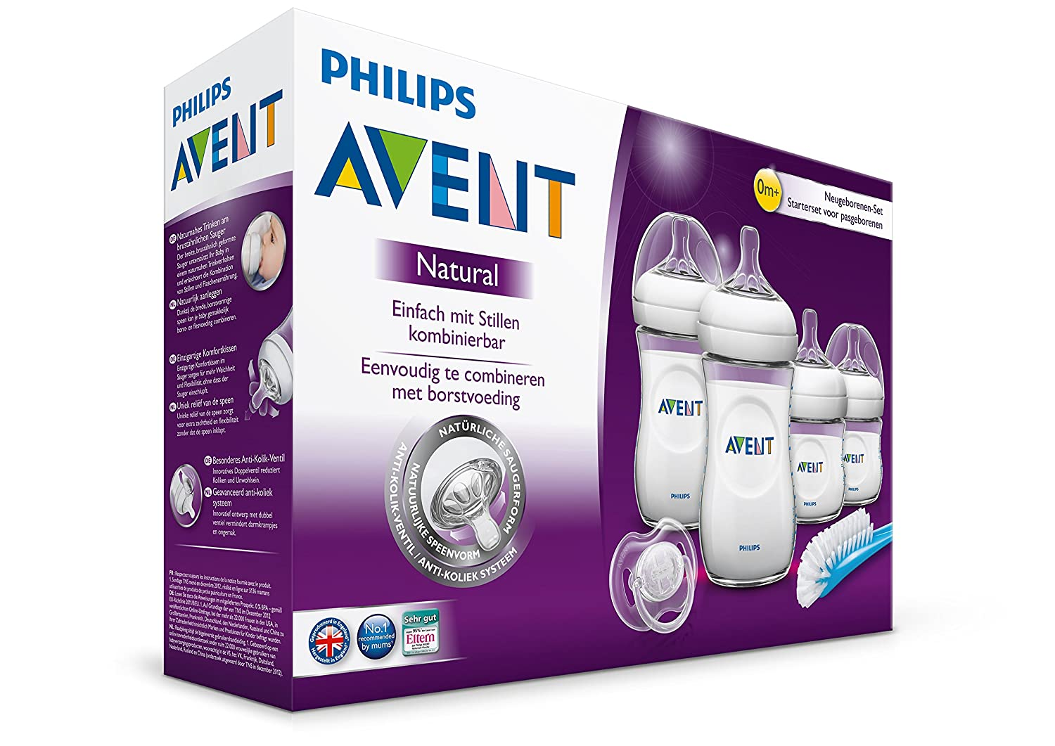 Philips Avent SCD290/01 - Set Regalo gama Natural para recién nacidos, 2 biberones 125 ml, 2 biberones 260 ml, 1 escobilla, 1 chupete, color ...