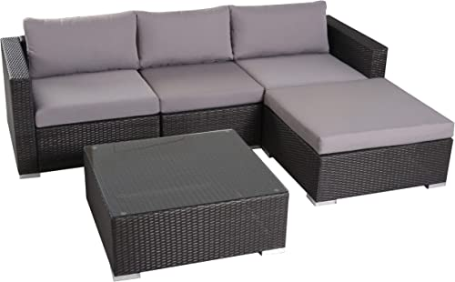Francisco Patio Furniture Outdoor Wicker Conversation Chat Set Set 5 Piece