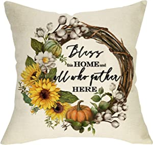 Pycat Bless This Home and All Who Gather Here Throw Pillow Cover 18 x 18 Sofa Couch Autumn Thanksgiving Decoration Fall Farmhouse Décor Wreath Sunflower Decorative Pillowcase Cotton Linen Cushion Case