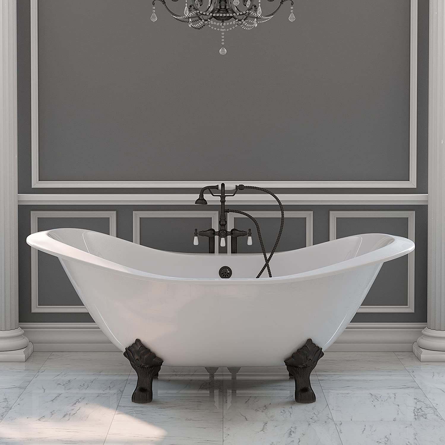 71 Cast Iron Double Slipper Clawfoot Tub With Freestanding Faucet