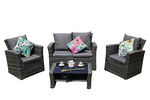 YAKOE Eton ratán Muebles de jardín Porche Patio sofá 4 ...
