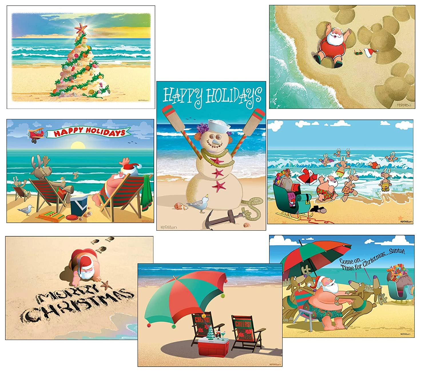 Amazon Beach Christmas Card Variety Pack 24 Cards Envelopes