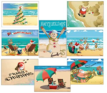 amazon com beach christmas card variety pack 24 cards envelopes