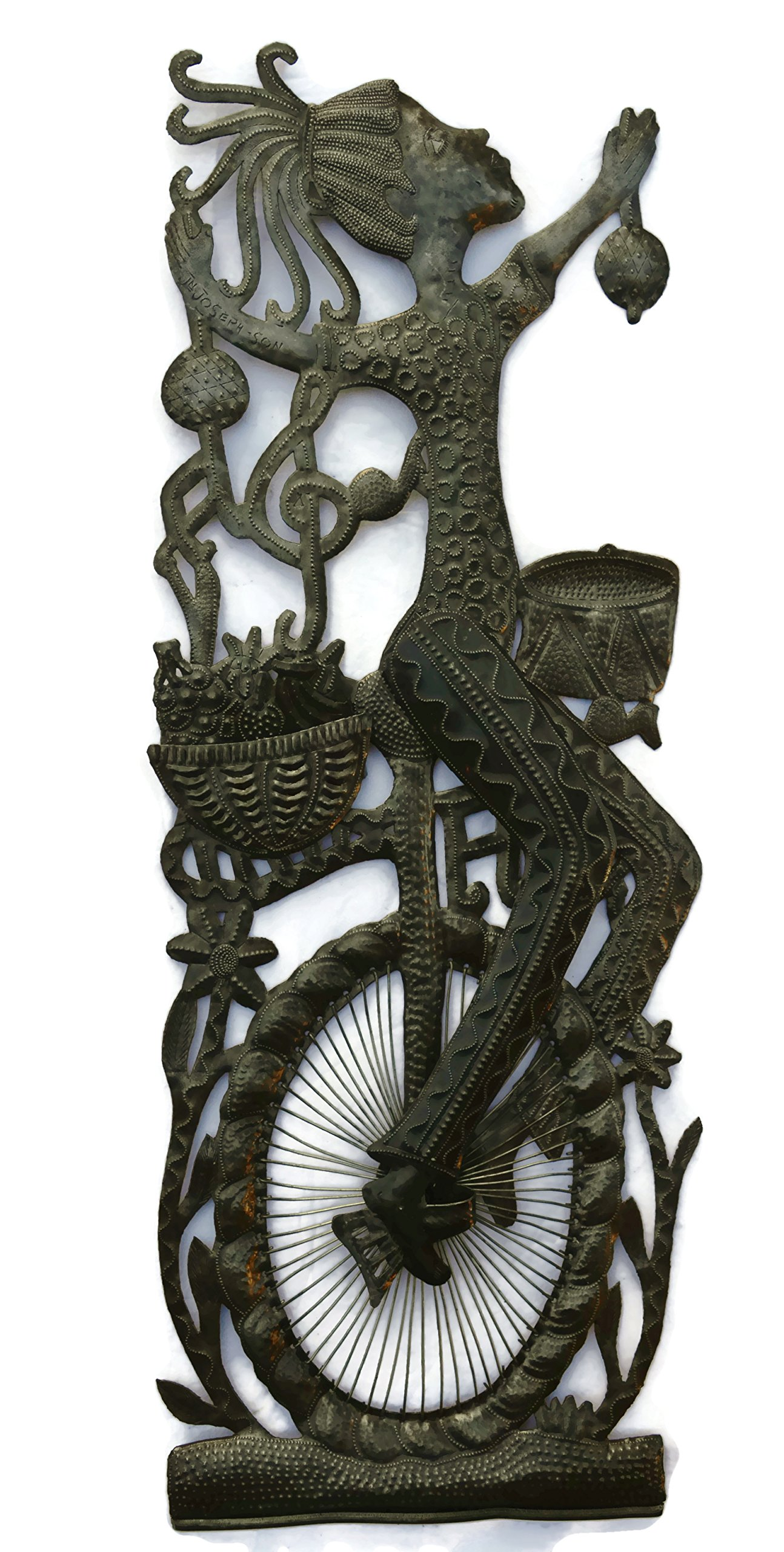 Girl on a Bike, Patio Garden Decoration, Metal Art Haiti 17'' X 33''