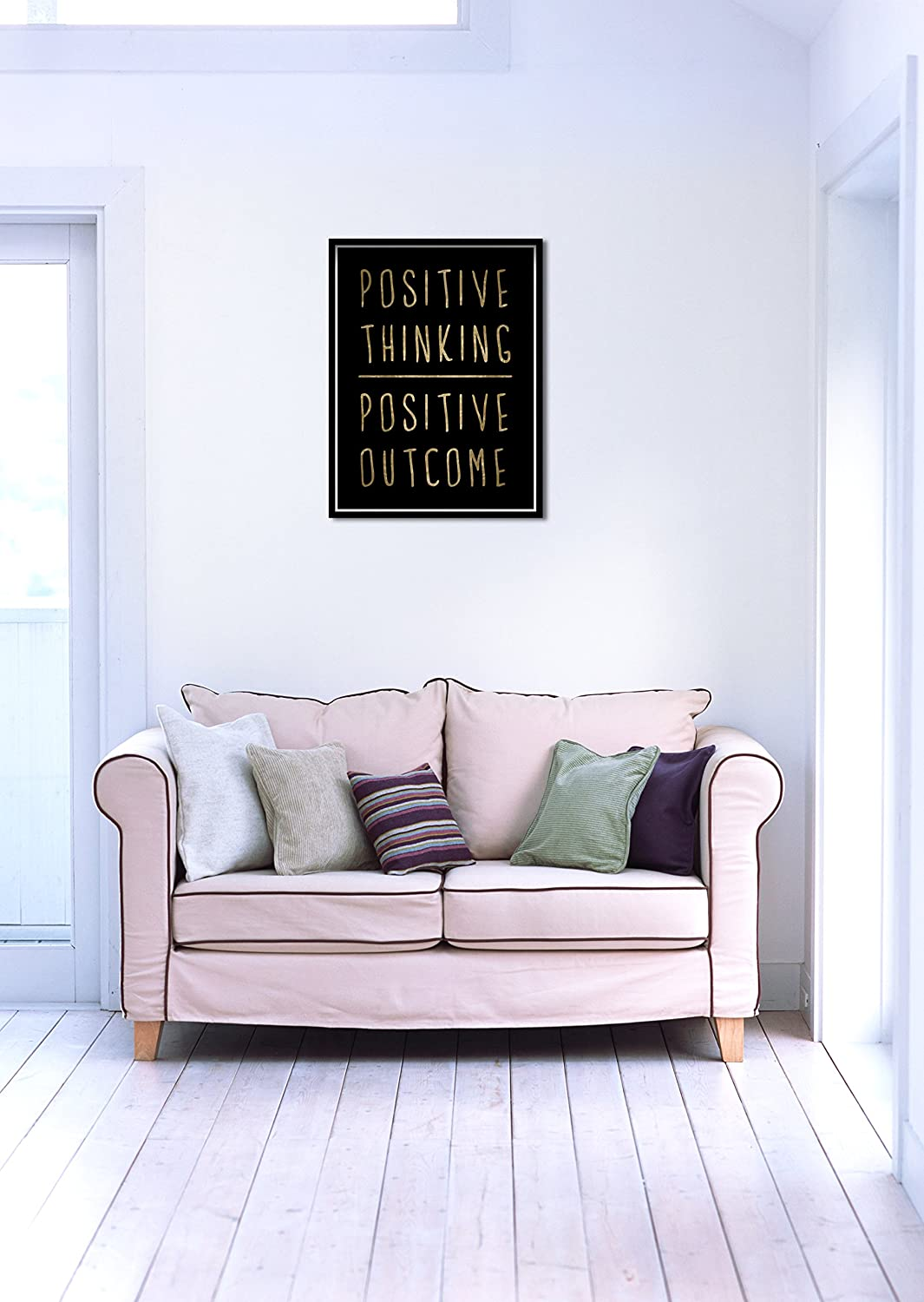 12 x 16 Oliver Gal Positive Thinking Contemporary Canvas Wall Art Print for Home Decor Black//Gold