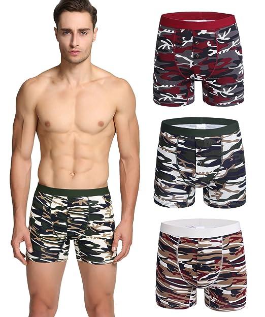 Nuofengkudu Hombre Adolescente 3 Pack Bóxers Ajustados Camuflaje Print Cortos Bulge Suave Ropa Interior Calzoncillos Mutande