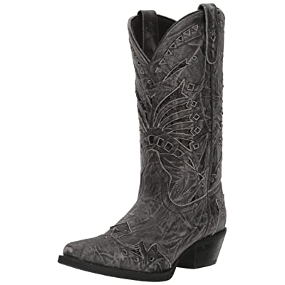 Laredo Womens Stevie Black Sequin Snip Toe Boot | Mid-Calf