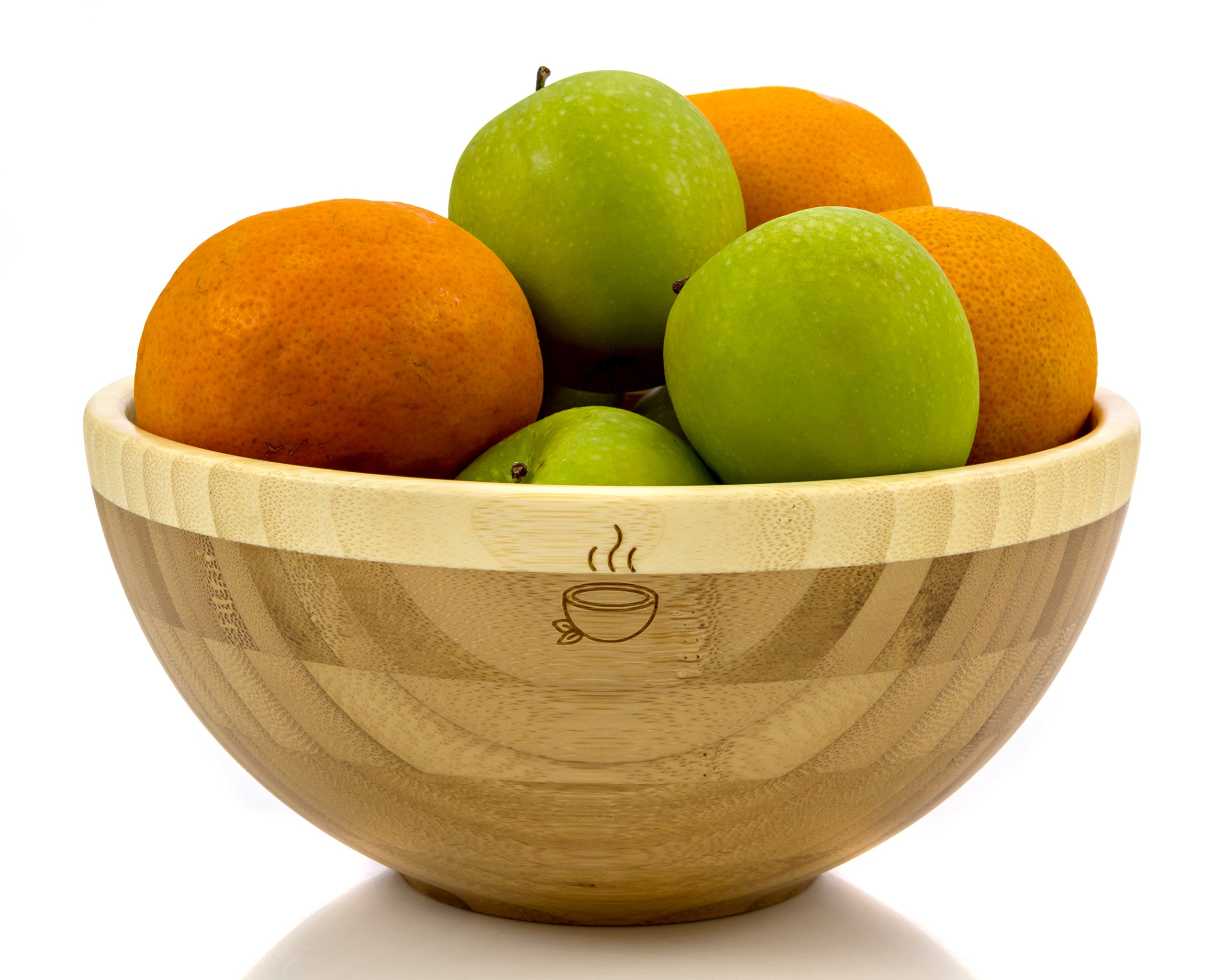 Bamboo Bowl – 100% Organic Handmade Bamboo Wood Salad Bowl – 8inch x 4inch Diameter – Perfect Bowl for Fruits, Vegetables, Mixing, Soup or Other Foods (White)