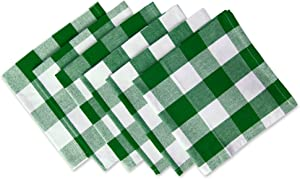 DII Classic Buffalo Check Tabletop Collection for Family Dinners, Special Occasions, Barbeques, Picnics and Everyday Use, 100% Cotton, Machine Washable, Napkin Set, 20x20, Green & White 6 Count