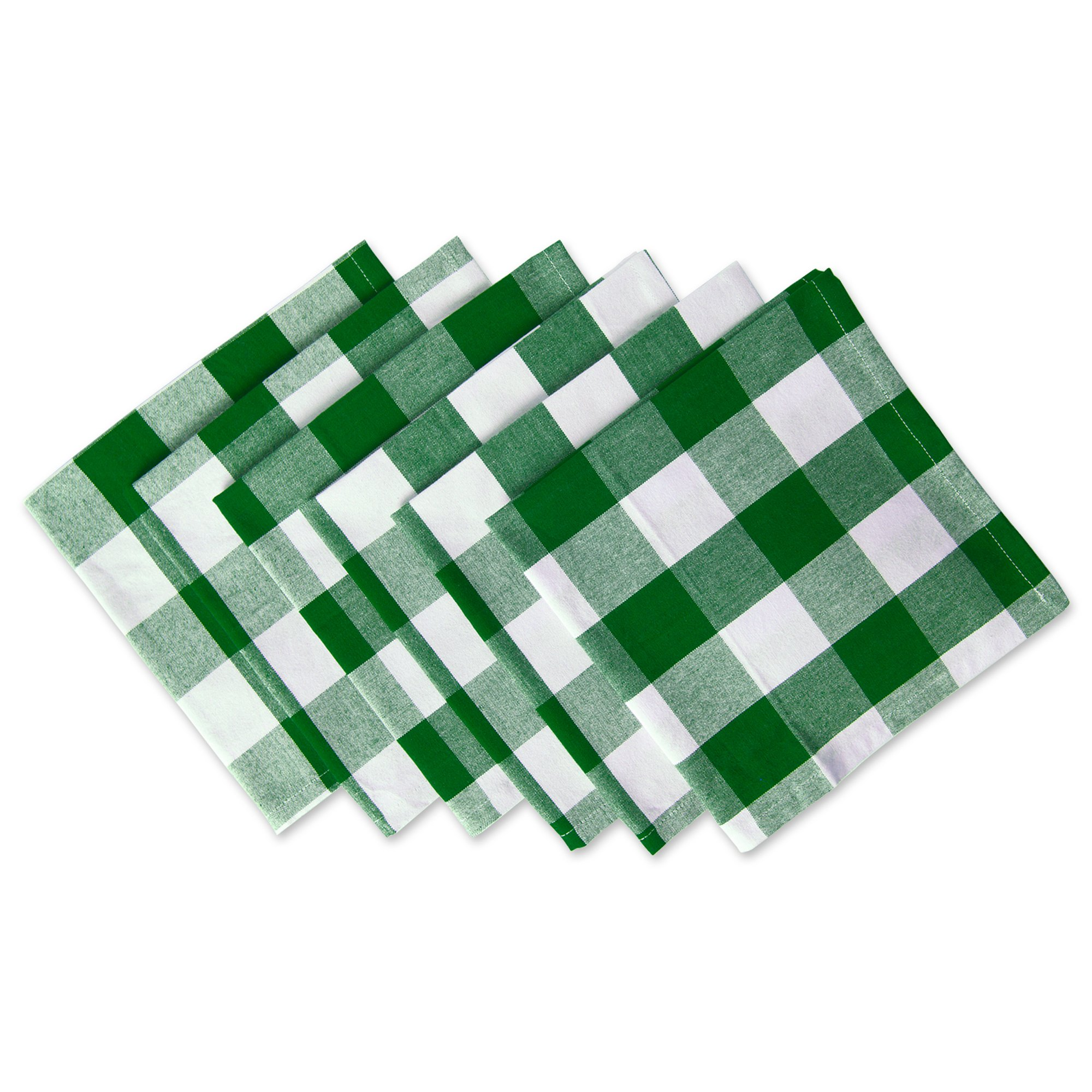DII Cotton Buffalo Check Oversized Basic Cloth Napkin for Everyday Place Settings, Farmhouse Décor, Family Dinners, BBQ's, and Holidays (20x20'', Set of 6) Green & White