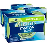 Tampax Pocket Pearl Plastic Tampons, Super Absorbency, 128 Count, Unscented (32 Count, Pack of 4-128 Count Total…