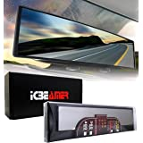 """ICBEAMER 15.8"""" 400mm Easy Clip on Wide Angle Panoramic Blind Spot Fit Auto Interior Rearview Mirror Convex Clear Surface"""
