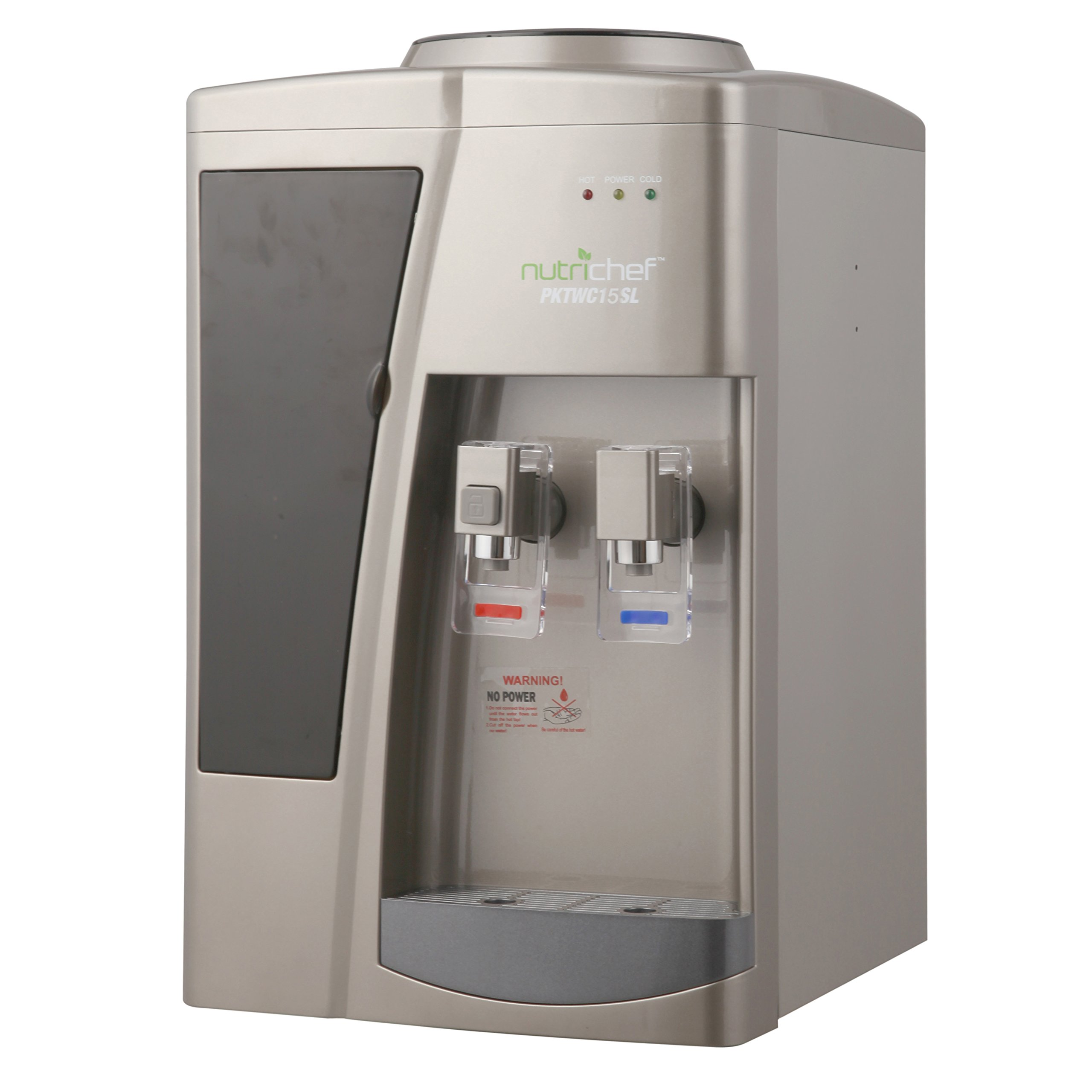 Nutrichef Countertop Compressor Water Cooler Dispenser - Hot & Cold Water, with Child Safety Lock. (PKTWC15SL)