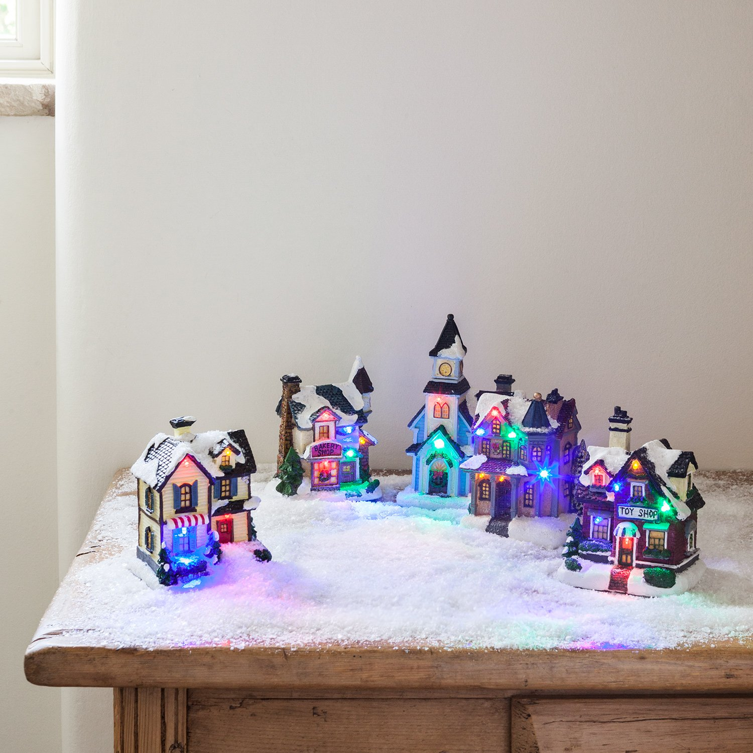 Battery Operated LED Light Up Christmas Village Scene by Lights4fun, Inc.