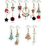 Sllaiss 5 Pairs Christmas Earrings Xmas Mismatched Asymmetrical Dangle Earrings Set Elk Santa Claus Candy Snowman Cross Snowf