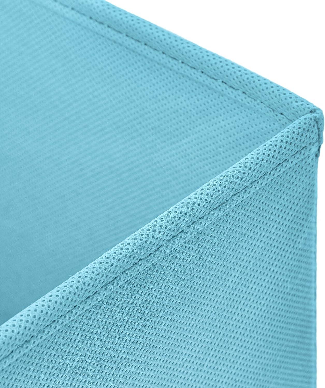 StickandShine 4er Set Blau Faltbox 30 x 30 x 30 cm Aufbewahrungsbox faltbar mit Kordel und mit Deckel