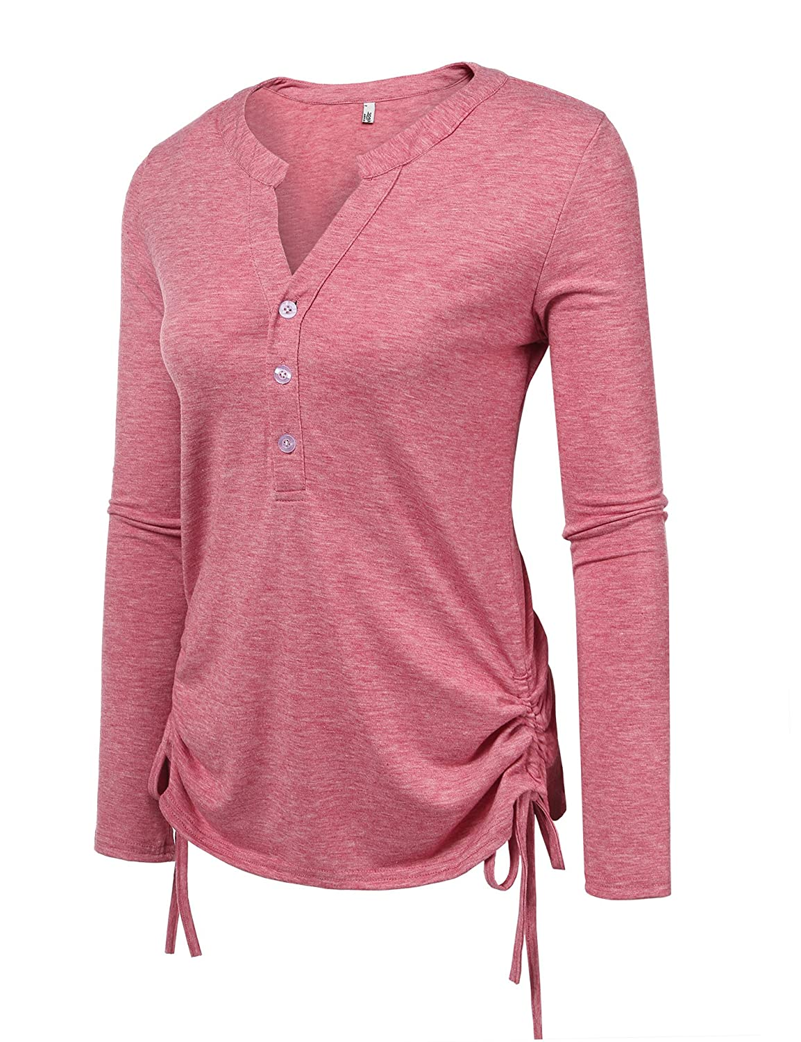 Meaneor Womens Long Sleeve Thermal Cotton Henley Casual T-Shirt MAH021021