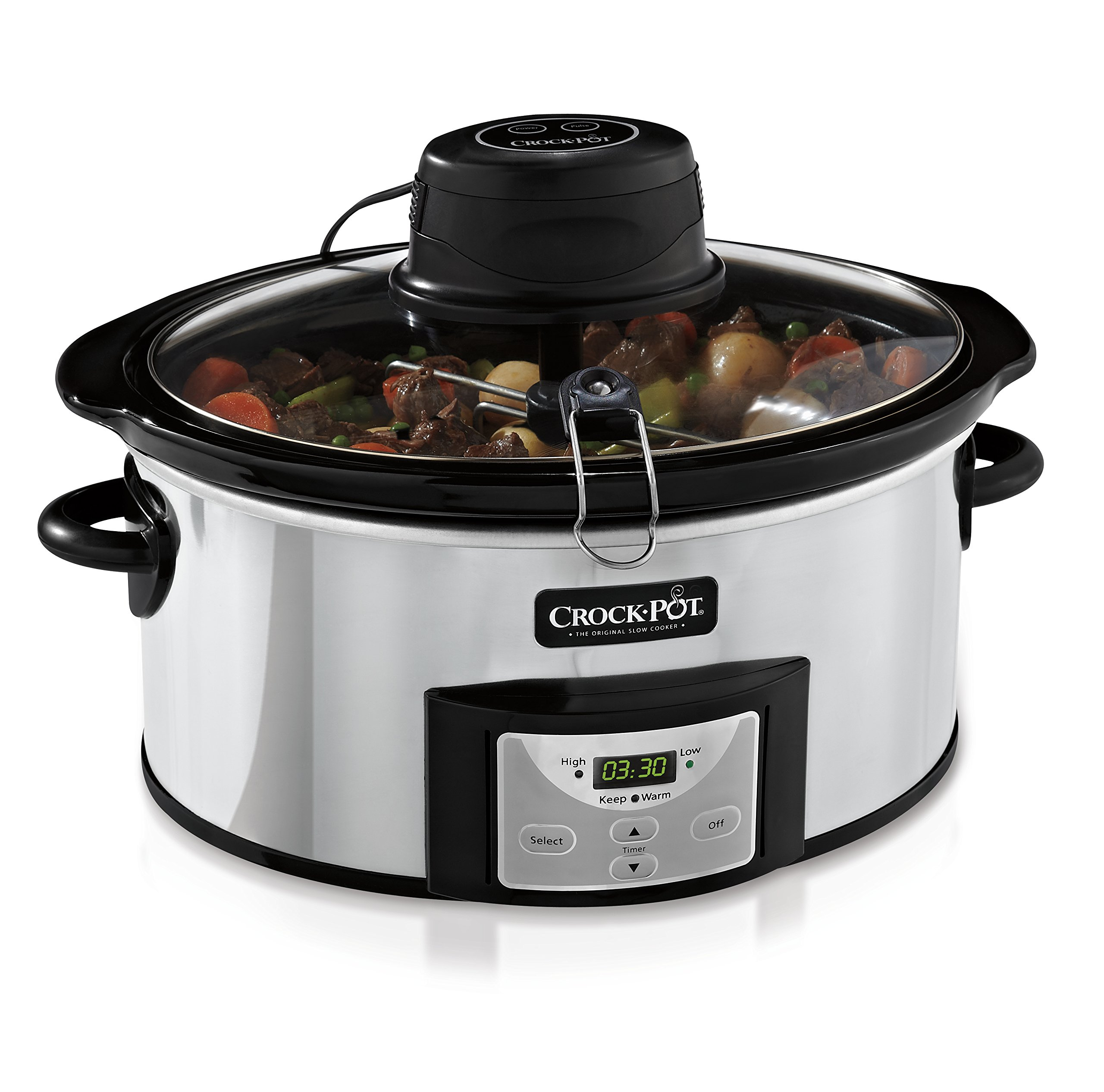 Crock-Pot 6Qt Polished Stainless Oval Programmable Digital Slow Cooker w/Auto Stir System SCCPVC600AS-P