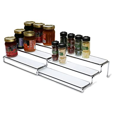 DecoBros 3 Tier Expandable Cabinet Spice Rack Step Shelf Organizer (12.5 ~ 25 Inch), Chrome
