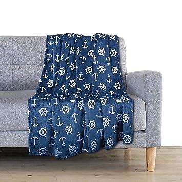 Delindo Lifestyle® Mantas para sofas NAUTIC / azúl / microfibra / Manta de forro polar / 150x200 cm