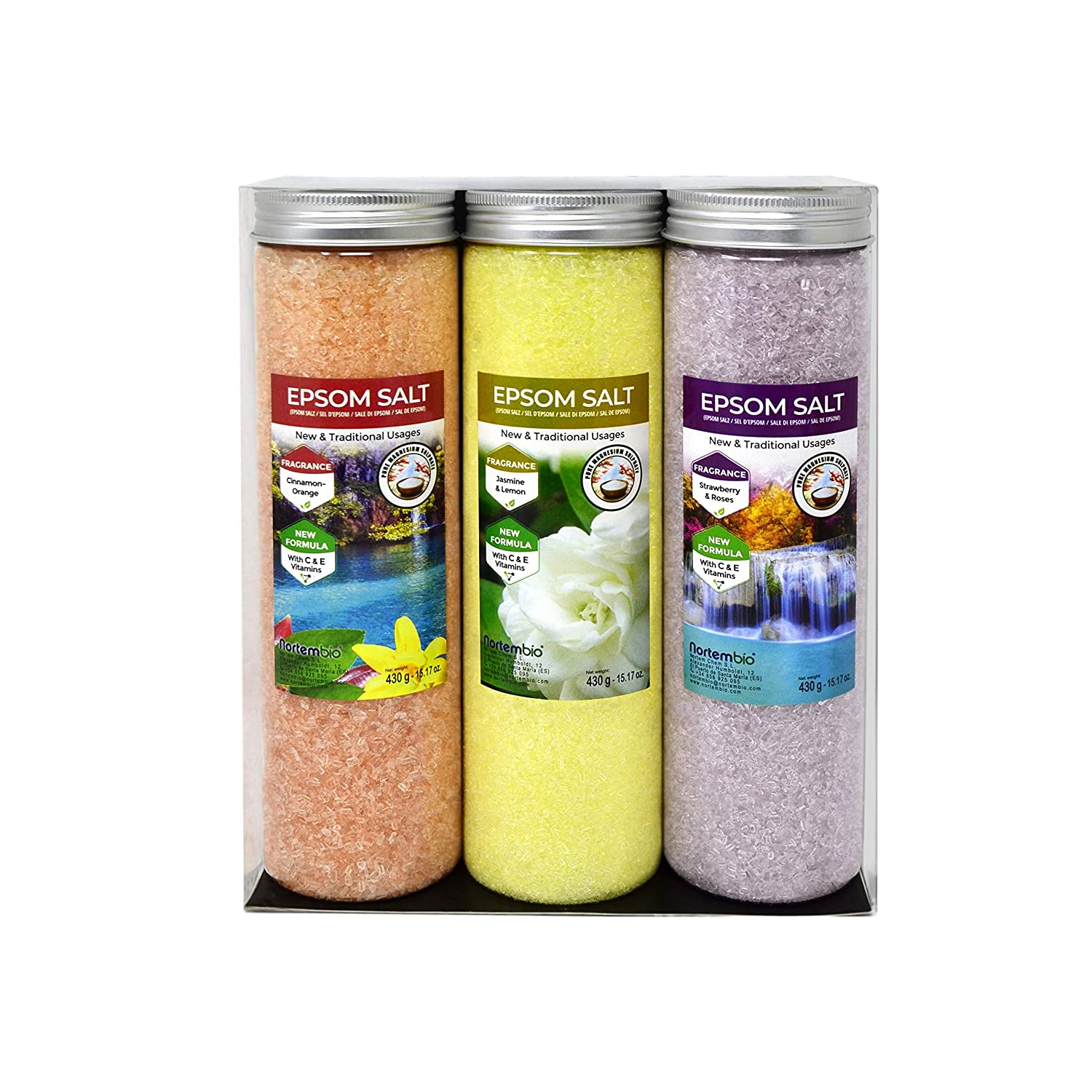 NortemBio Epsom Salt Pack 3 x 430 g. Cinnamon, Jasmine, Roses Fragrances. Hydrated with Vitamin C and E. Bath Salts, Aromatherapy, Flotation Therapies. Nortem Biotechnology
