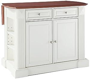Crosley Furniture KF30007WH Drop Leaf Kitchen Island/Breakfast Bar, White