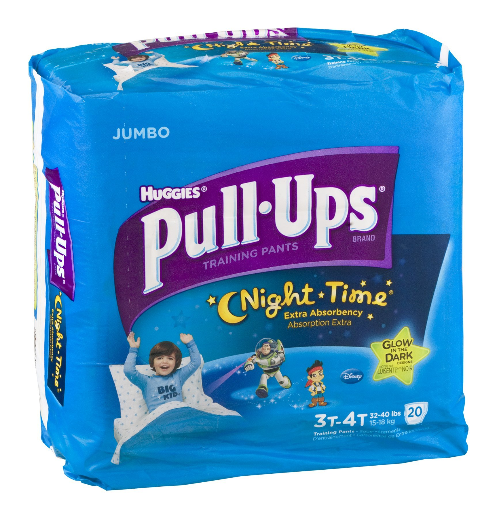 Huggies Pull-Ups Night Time Training Pants Disney Glow In The Dark 3T-4T 20 CT (Pack of 8)