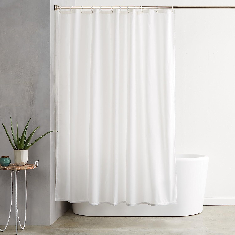 Amazon Com Amazon Basics Shower Curtain With Hooks 72 Inch White Home Kitchen