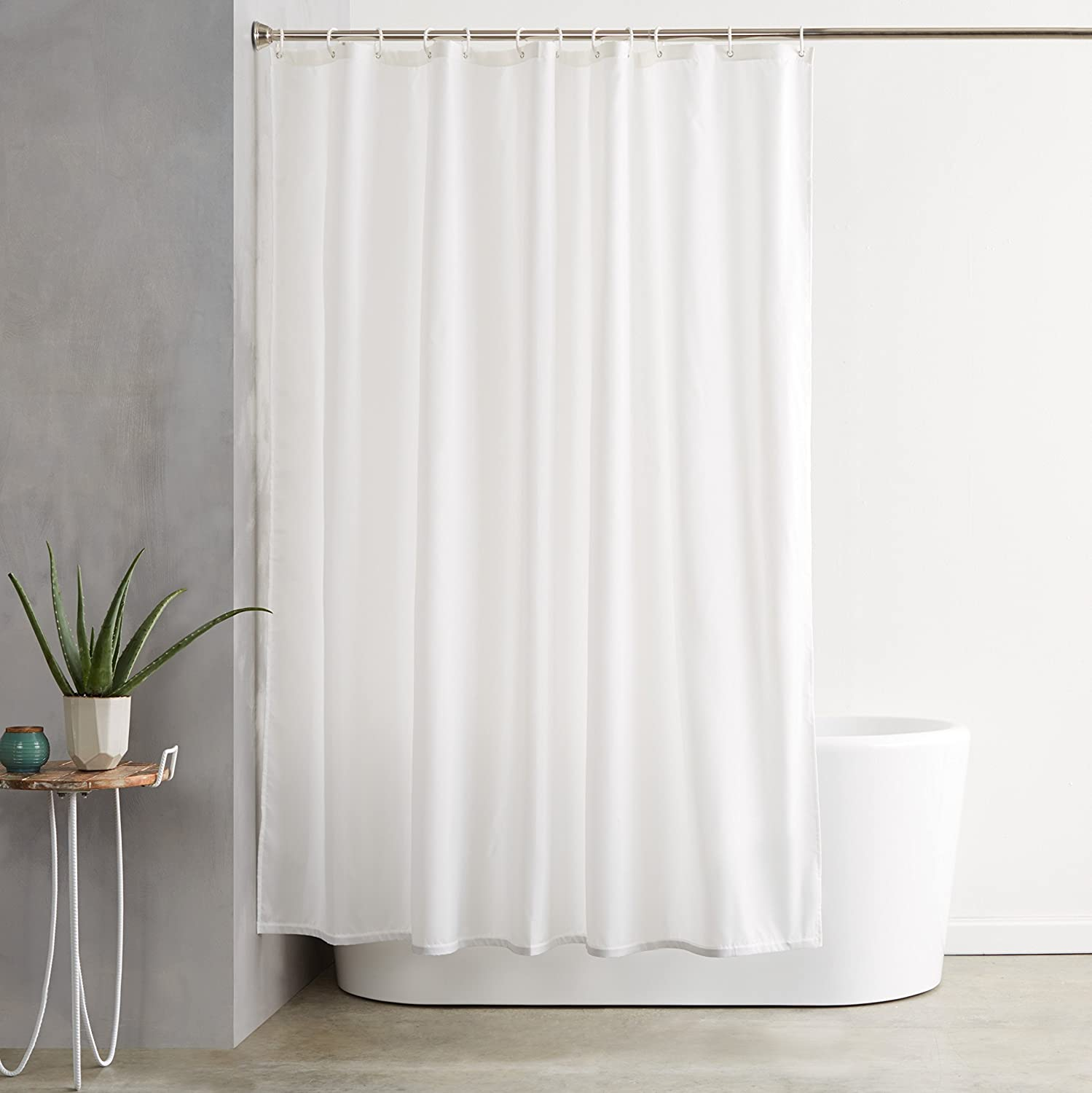 Amazon.com: AmazonBasics Shower Curtain with Hooks (Treated to ...