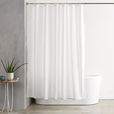 AmazonBasics Shower Curtain with Hooks - 72 x 72 Inch, White