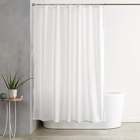 Amazoncom Amazonbasics Shower Curtain With Hooks Treated To