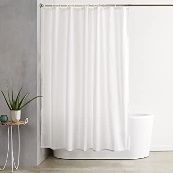 AmazonBasics Shower Curtain With Hooks (Treated To Resist Deterioration By  Mildew)   72 X