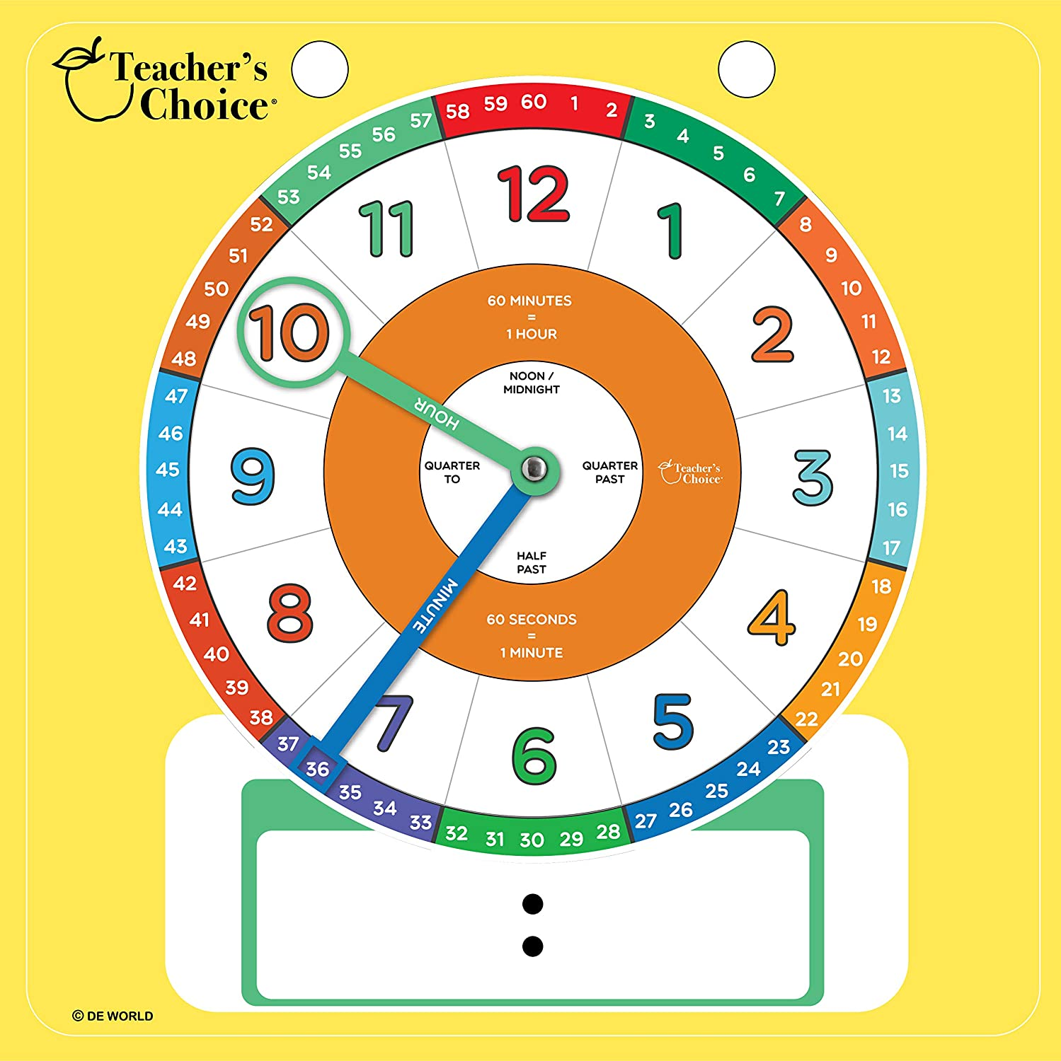 Educational Teaching Clock | Large Demonstration Learning Time Clock with  Erasable Writing Surface to Teach Time