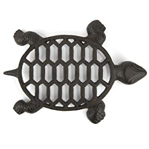 gasare, Cast Iron Trivet for Hot Dishes, Decorative Turtle Design, Rubber Caps, 12 x 9 Inches, Cast Iron, Brown, 1 Unit