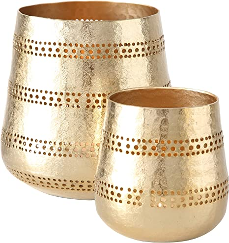 Amazon Com Whw Whole House Worlds Golden Gilt Metal Votive Candle Holders Chubby Belly Hurricanes Set Of 2 Textured Surface 7 5 Diameter X 7 5 Tall And 5 Diameter X 5 Tall Inches Home Kitchen